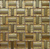 Mosaico del metal del acero inoxidable del oro, azulejo de cristal de la pared del mosaico (SM205)