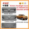 pour des kits de corps de la voiture 4X4 de Nissan pour les couleurs mates du noir 3 d'accessoires de voiture de couverture de phare de fibre de carbone de couverture de phare de chrome de Nissan Navara