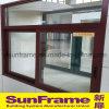 Fenêtre coulissante en aluminium avec texture en bois