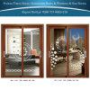 2 painéis porta deslizante de alumínio/de alumínio com projeto da flor