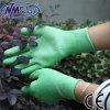 Перчатка PU зеленого полиэфира Nmsafety покрытая
