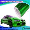 Зеленый Chrome виниловая пленка, Хромированные защитные наружного зеркала заднего вида автомобиля устройство обвязки сеткой, пузырек воздуха примесей 1,52*30m размера