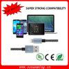 El nylon trenzado El cable de carga de 8 polos relámpago Cable USB Cable de cargador de iPhone