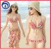 De Sexy Bikini van Swimwear 3PCS die in Digitale Druk en anti-UvFunctie wordt geplaatst