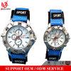 Nylonriemen-Sport-Uhr-arabische Zahl-Vorwahlknopf-rostfreie Kasten-Japan-Bewegungs-Uhr des gewebe-Vs-614