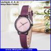 Relojes de señoras ocasionales de la correa de cuero del asunto del OEM del reloj (WY-122A)