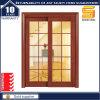 Porta de madeira interior deslizante de madeira contínua clássica com painéis de vidro