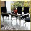 Tableau dinant réglé à la maison français moderne de Louis d'argent de chrome d'acier inoxydable de meubles/marbre ou en verre Tempered de salle à manger avec le tissu de velours dinant des présidences