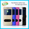 Dos cajas del teléfono del cuero del tirón de la ventana para Samsung J7