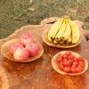 Plaque de fruits en bois ronde en bois à trois pièces en bois sculpté
