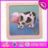 2015 quebra-cabeças de animais de madeira educacionais mais recente, adorável vaca em um design mais pequeno Kids Puzzle Madeira brinquedo, diversos animais brinquedo quebra-cabeças de madeira W14C166