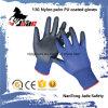 черноты ладони 13G перчатка PU голубой Lind Coated промышленная
