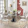 La promotion de marbre de base en acier haut Round Table à manger