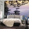 個人化された防水鮮やかな図形屋外場面壁紙の壁画の印刷