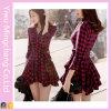 Le design de mode femmes Chemise à manches longues rouge robe robe (117)
