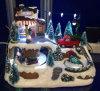 Décoration de Noël 9 arbres de la résine  boutique de vente scène avec chariot de déplacement et d'enfants, huit chansons de Noël