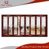 Como el metal de madera puerta plegable de doble cristal con persianas