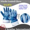 Джерси вещевым ящиком с синими нитриловые полностью покрытием и открытая сзади и безопасность манжеты/ EN388: 4221/ Размер 8 и 9, 10, 11 (YS-074)