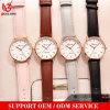 MOQ bajo un diseño clásico resistente al agua rosa/marrón/negro/gris Reloj de cuero auténtico para el hombre y mujer
