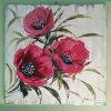 手塗りの美しい3赤い花の景色の油絵(LH-033000)
