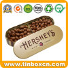 음식을%s 돋을새김된 타원형 모양 초콜렛 주석은 저장 상자 할 수 있다
