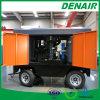 Compresor de aire portable accionado por el motor diesel Anti-Estallado con las ruedas usadas para el canotaje