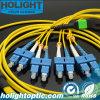 8 kern MPO aan Kabel van het Flard van de Vezel van Sc Sm de Optische