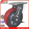 6x2 Heavy Duty rouge de fer PU Roulettes pivotantes avec frein
