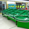 Étagère acrylique de supermarché en marbre et légumes