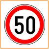 Предупредительный знак ограничения в скорости, знак уличного движения SLS-001