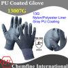 13G серый нейлон / Полиэстер вязаные рукавицы с серой PU гладкого покрытия/ EN388: 4131