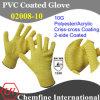 10g желтый полиэстер/акрилового волокна вязаные рукавицы с 2-желтого цвета со стороны ПВХ покрытие Criss-Cross/ EN388: 124X