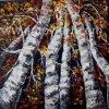 Rote Birken-Ölgemälde gebildet durch Paletten-Messer mit schweres Öl-Beschaffenheiten