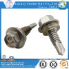 Acero inoxidable 304 Hex Washer Head Tornillo autoperforante con arandela de goma