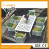 Mobília de jardim moderna Mesa de jantar de vime sintética de pátio usada