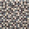 Precio de fábrica barata forma de cuadrado de cristal de colores mezclados mosaico de piedra de Travertino