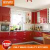 As cores vermelho laminado de acrílico com armário de cozinha de design