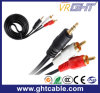 3m 3,5mm-2fichas RCA macho para macho do cabo de áudio