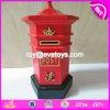 Nuevo diseño lindo cabina telefónica de madera de Bote de dinero para los niños W02A271