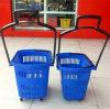Panier ovale de plastique de roue de roulement d'achats de forme de supermarché