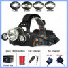 ポータブル3 LEDのヘッドライト自転車の乗馬のHight力LEDのヘッドライト+ Charger+電池のための3つのT6ヘッドランプライト4モード