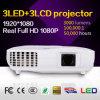 3LED + 3LCD Proyector para uso en el hogar / Presentación de negocios