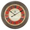 أثر قديم غلّة كرم أحمر مستديرة خشبيّة جدار زخرفة ساعة