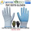 Рабочие перчатки, 13G полиэфирная пленка ПВХ Оболочки точек покрытием перчатки (D3101) с маркировкой CE, EN 420