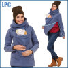 100% хлопок мода женщинам отпуска по беременности и подкладка из флиса удлиненной худи