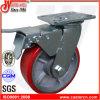 6 Hochleistungsrot  X2  PU-Schwenker-Fußrollen mit doppelter Bremse