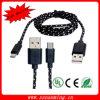 Cavo di nylon di carico di micro dati maschii del USB - il nero