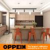Мебель кухни самомоднейшего Brown меламина Oppein деревянная с островом (OP15-M10)