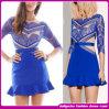 Vestido azul na moda do laço da venda quente sexy luxuosa nova do Arriver 2014