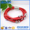 Pulseira de couro vermelha personalizada com fecho magnético
